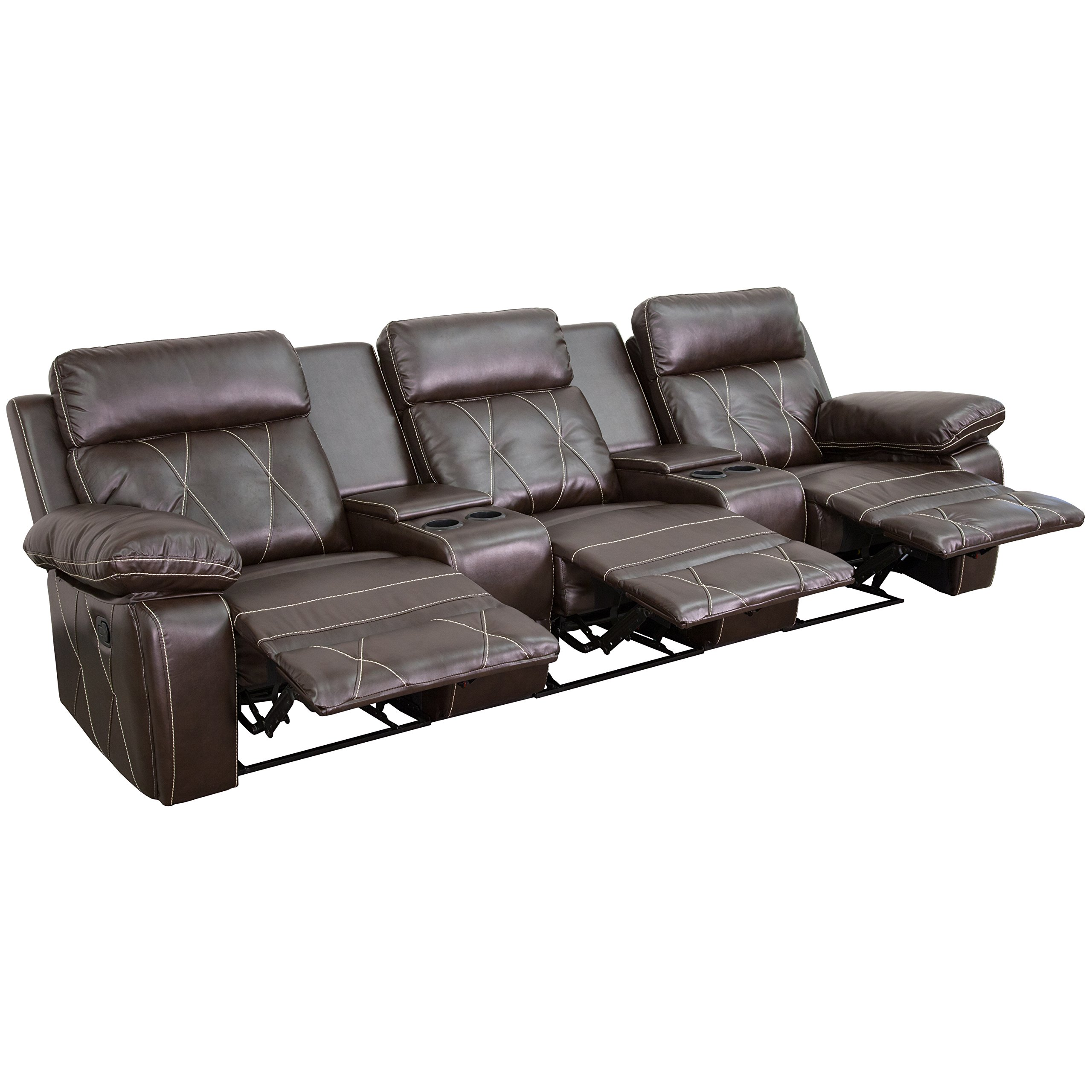 Flash Furniture Reel Comfort Series 3-Seat Reclining Brown Leather Theater Seating Unit with Straight Cup Holders by Flash Furniture