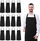 Professional Bib Apron (Set of 12, Black, 32 by 28 Inches) - Durable, Comfortable, Easy Care - by Utopia Wear