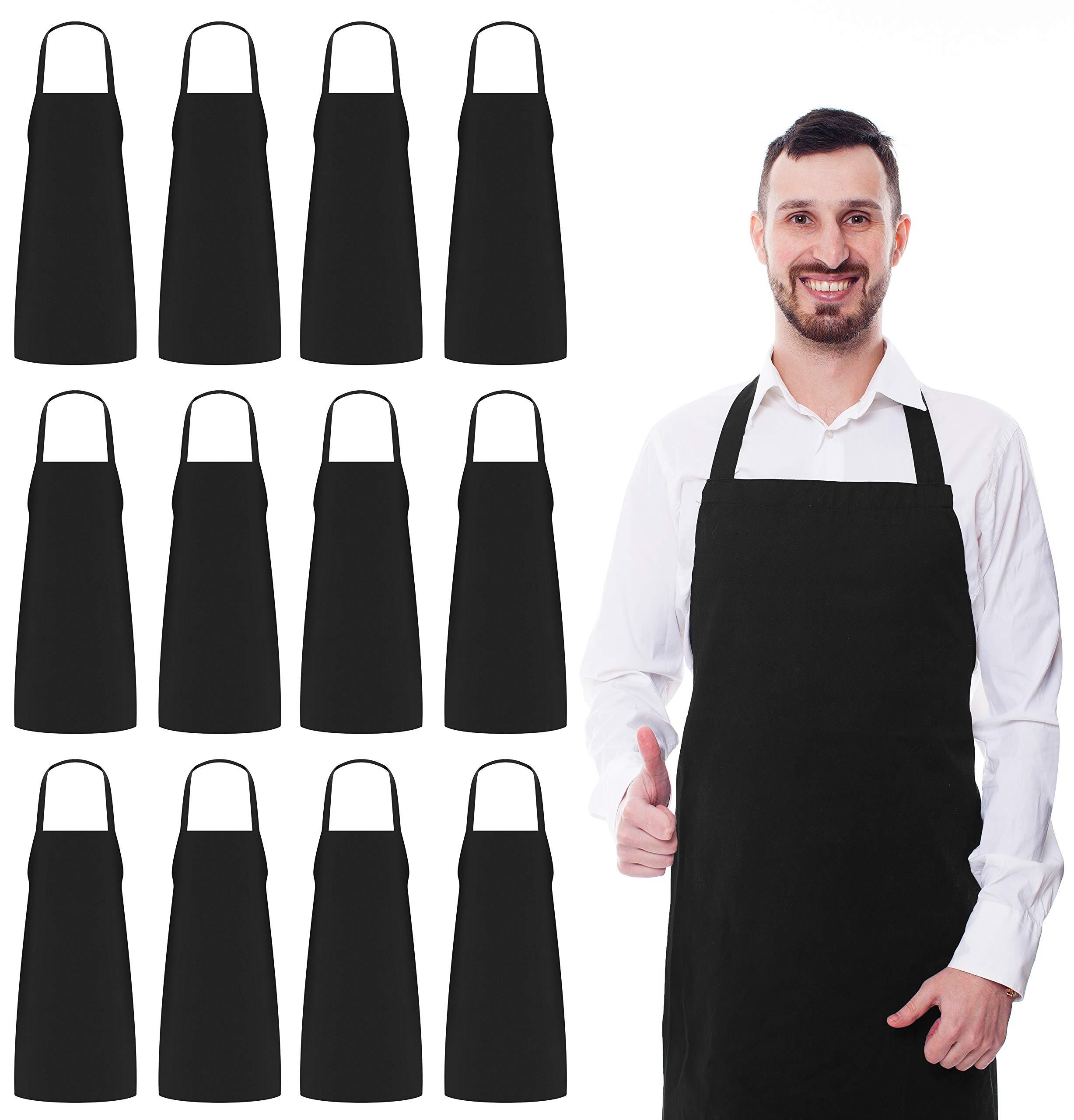 9504378510a Utopia Kitchen 12 Bib Aprons bulk Pack 32 x 28 Inches- Black Aprons product  image