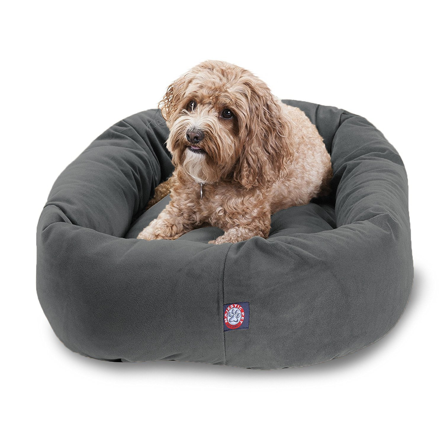 Majestic Pet 32'' Gray Velvet Bagel Dog Bed