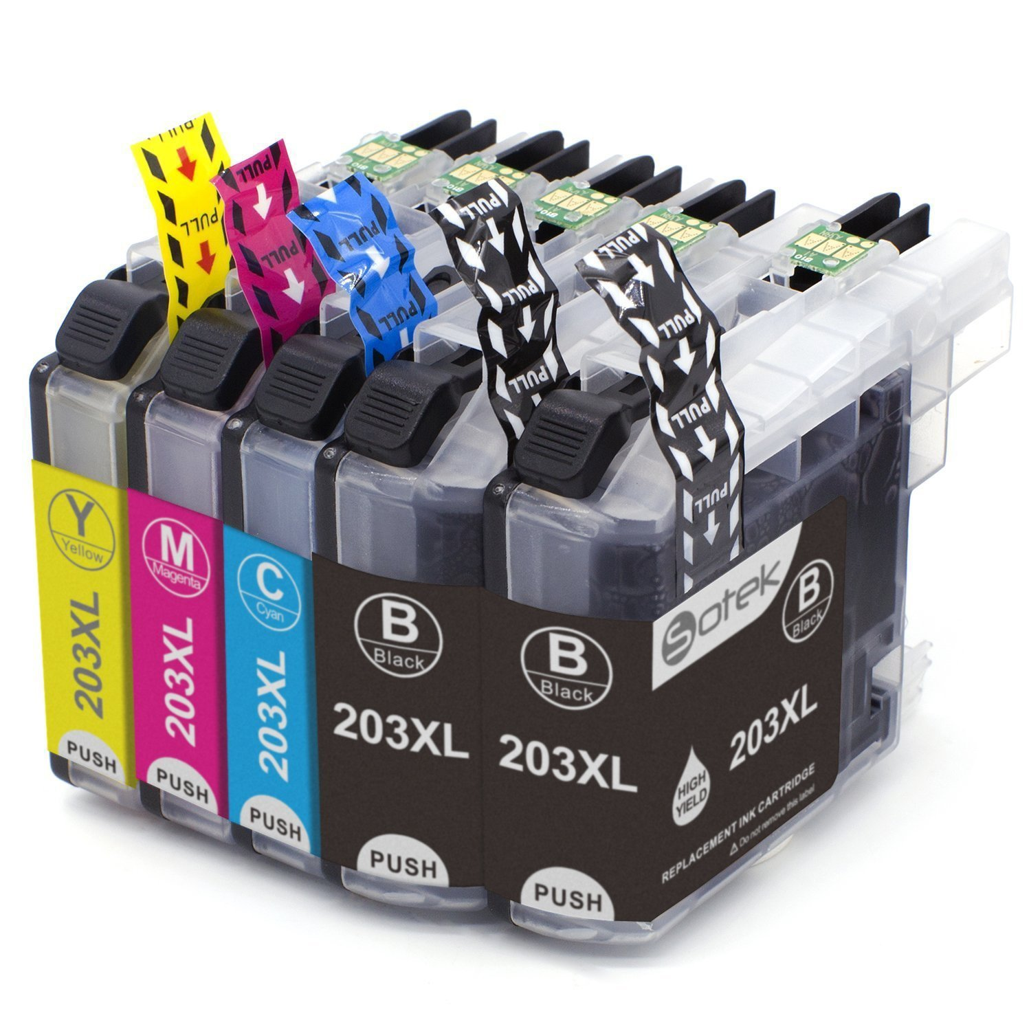 LC203XL LC201 Ink Cartridges 5 Pack, Work with MFC J480DW J680DW J880DW J460DW J485DW J885DW J5520DW J4320DW J4420DW J4620DW J5620 J5720DW Printers 5 Pack (2 Black, 1 Cyan, 1 Magenta,1 Yellow)