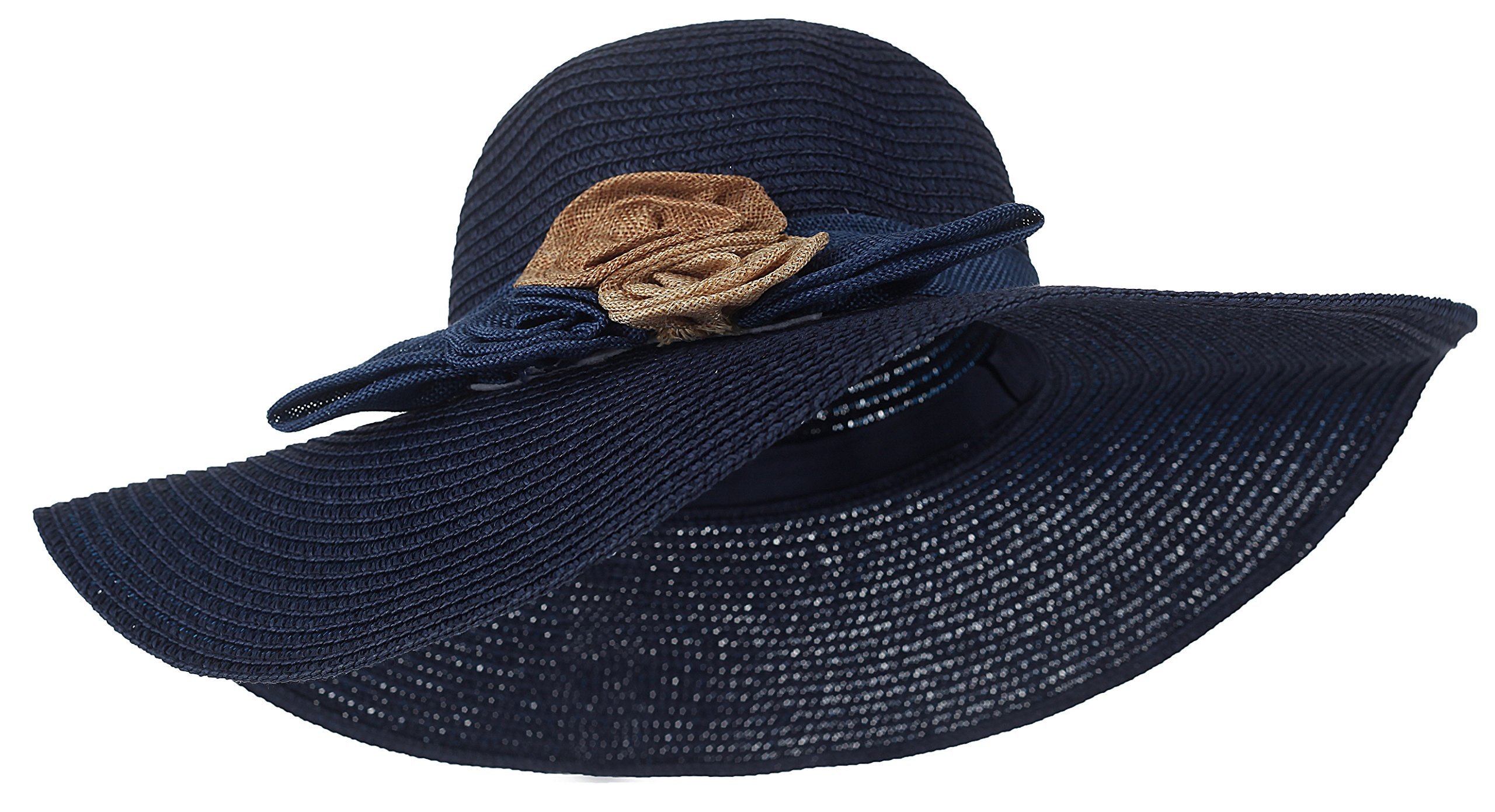 Kaisifei Summer Girls Sweet Big Flower Straw Hats (navy blue-2)