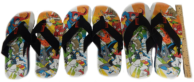 c698f9e1389b Amazon.com  DC Comics Justice League of America Men s Suede Leatherette Flip  Flop Sandals Superheros Superman