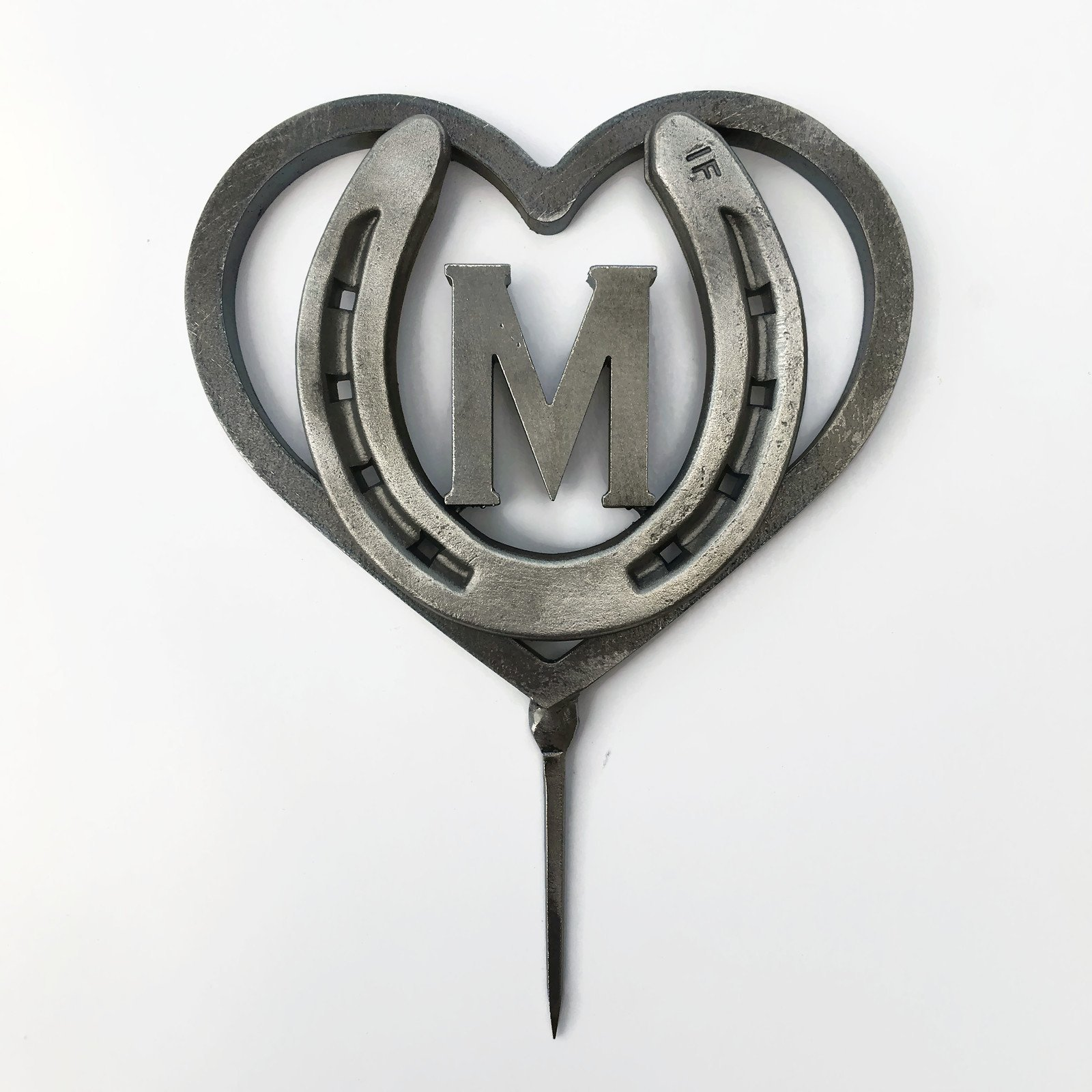 Custom Heart and Horseshoe Wedding Cake Topper w/ Initial