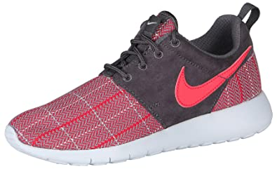 NIKE Youth Roshe One SE Running Shoes-Red/Gray-6