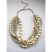 Light and dark Grey ivory and champagne chain messy twisted pearl statement necklace