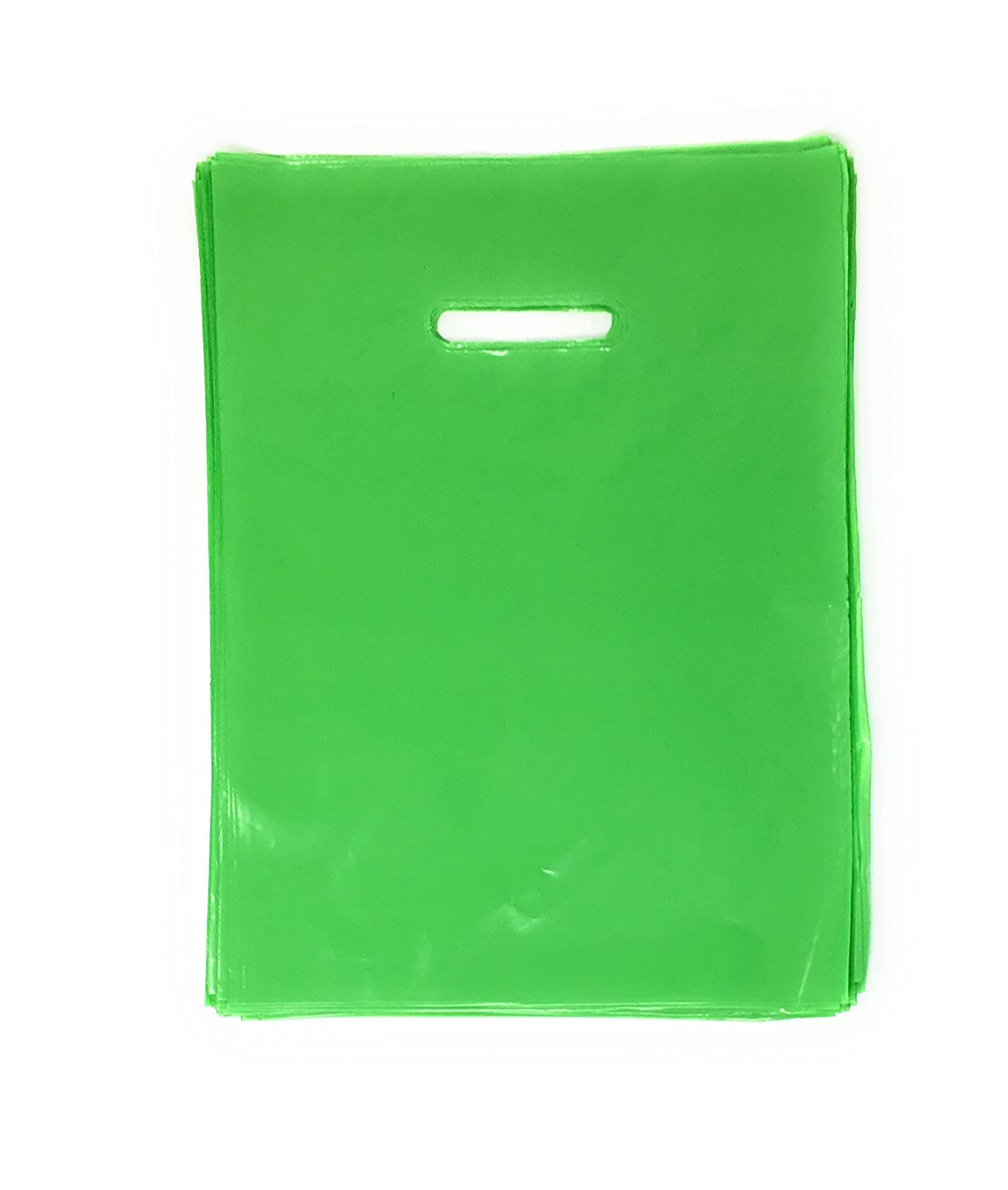 Green Merchandise Plastic Glossy Retail Bags 100 Pack 12' x 15' with 1.25 mil Thick | Die Cut Handles | Perfect for Shopping, Party Favors, Birthdays, Children Parties | Color Green | 100% Recyclable Plamar USA 12x15x1.25dcut-Green