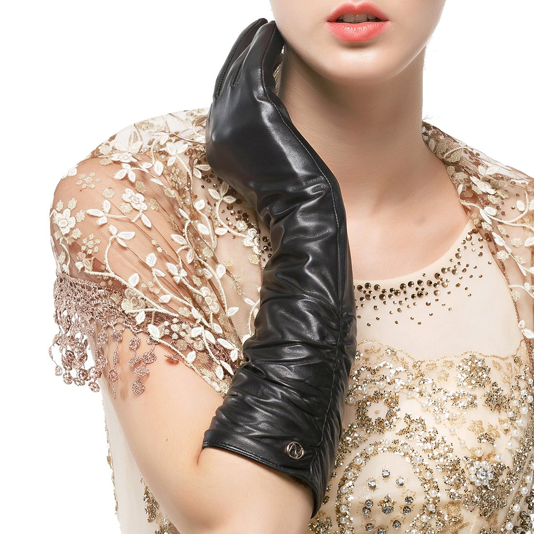 Nappaglo Women's Winter Long Leather Gloves Genuine Nappa Leather Touchscreen Ruched Elbow Party Mittens (XL (Palm Girth:7.9''), Black (Touchscreen))