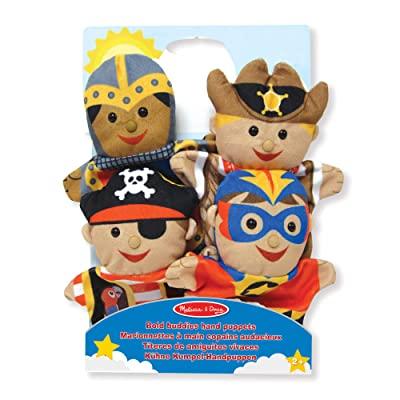 Melissa & Doug Bold Buddies Hand Puppets (Set of 4) - Knight, Pirate, Sheriff, and Superhero: Toys & Games