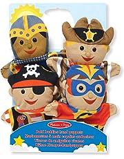 Melissa & Doug Bold Buddies Hand Puppets, Puppet Sets (Knight, Pirate, Sheriff, and Superhero, Soft Plush Material, Set of 4)