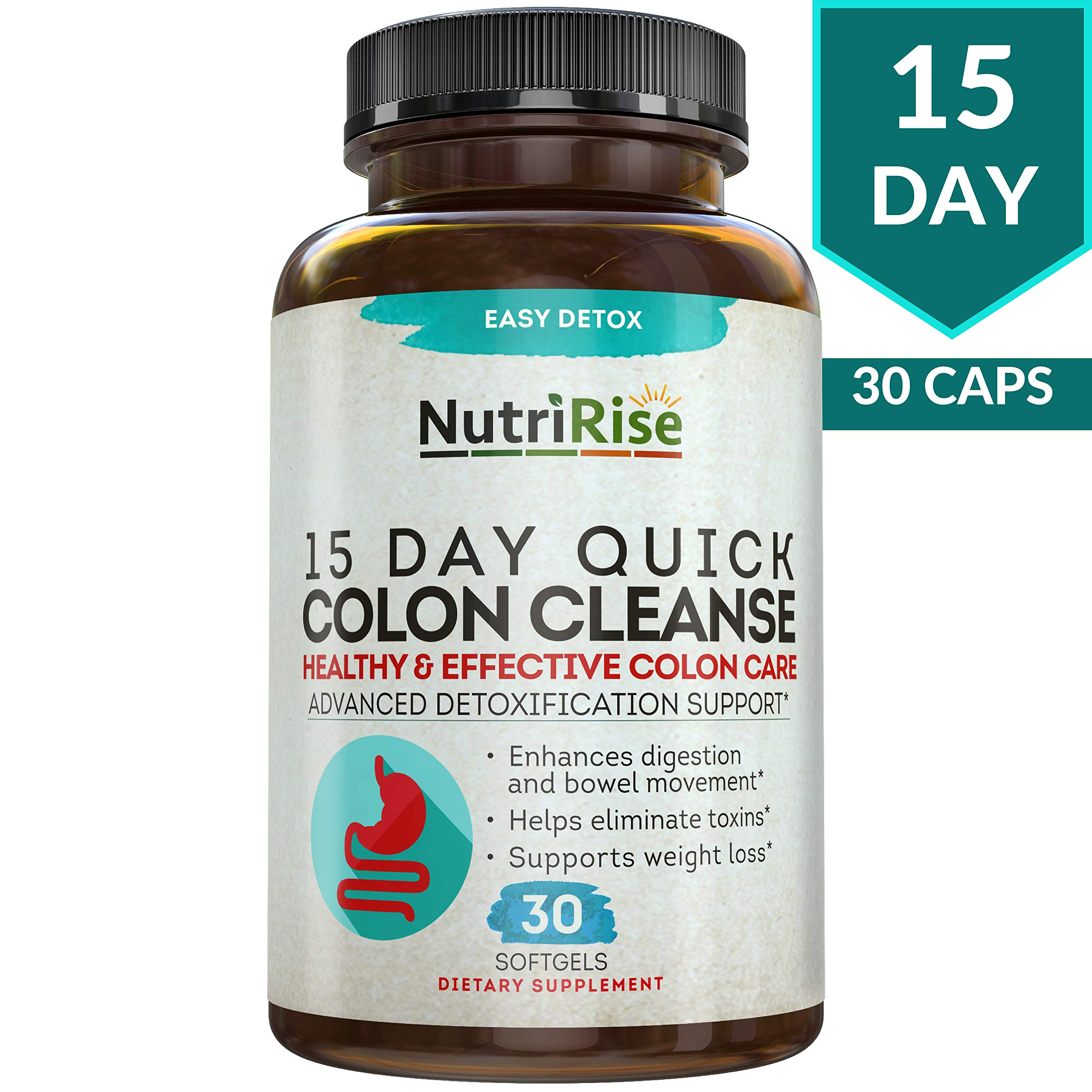 Colon Cleanser Detox for Weight Loss. 15 Day Fast-Acting Extra-Strength Cleanse with Probiotic & Natural Laxatives for Constipation Relief & Bloating Support. 30 Detox Pills to Detoxify & Boost Energy by NutriRise