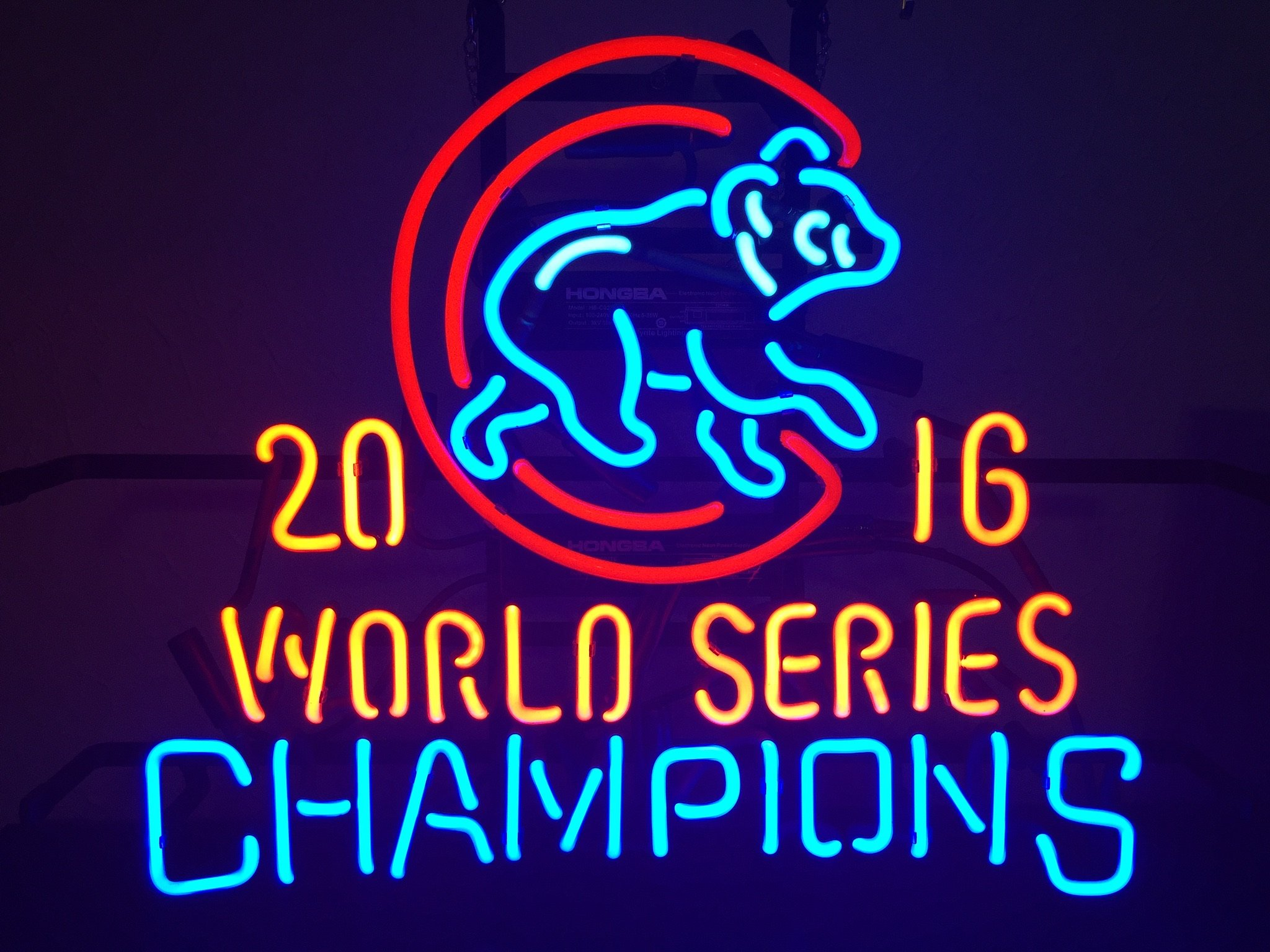 Urby™ 19''x15'' Chicago Sports Unions Cub 2016 World Series Champions Neon Sign (MultipleSizes) Beer Bar Pub Neon Light Handicraft U126