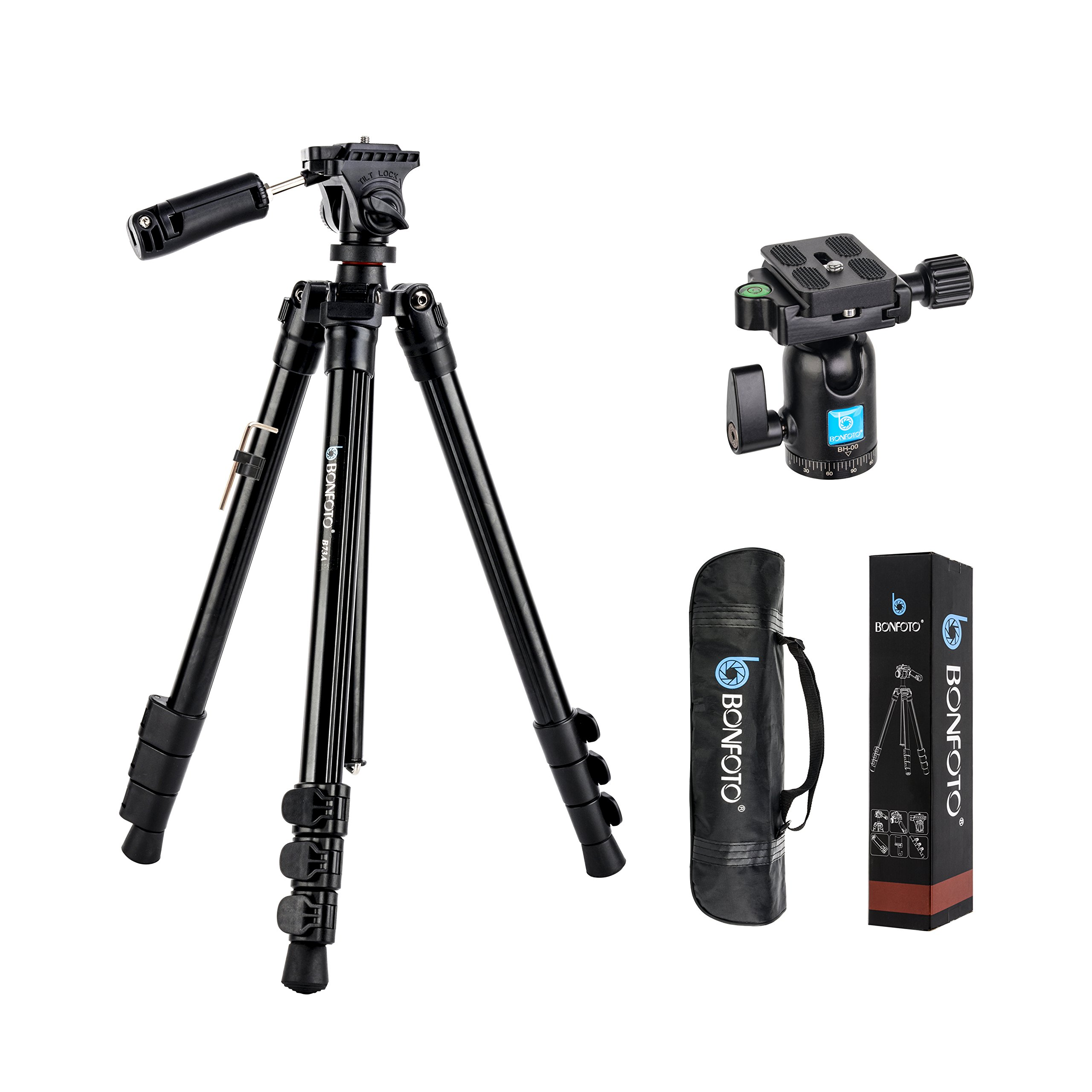 BONFOTO B73A + BH-00 58-inch Aluminum Alloy Professional Compact Travel Camera Tripod and Monopod with Panorama Pan Head + Swivel Ball Head + Carrying Bag for Smartphones and Digital Camera by BONFOTO