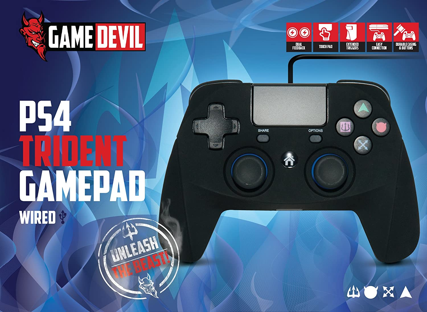 Game Devil Trident Wired Game Pad (PS4/PS3): Amazon.co.uk: PC ...