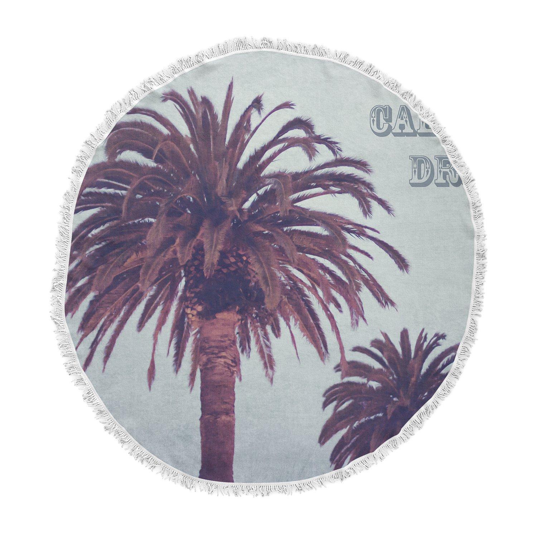 Kess InHouse Ann Barnes California Dreams Blue Brown Round Beach Towel Blanket