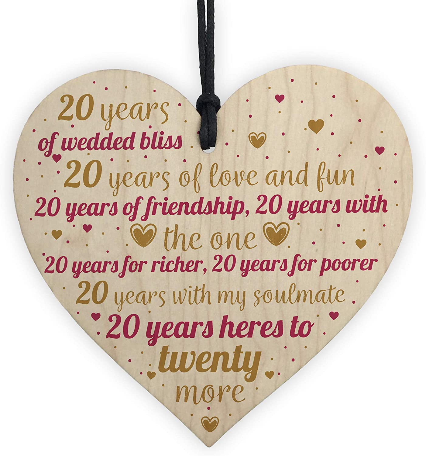 Red Ocean 20th Wedding Anniversary 20 Years China Wood Gift Handmade Wooden Hanging Heart Chic Sign First Wedding Gifts For Her Amazon Co Uk Kitchen Home