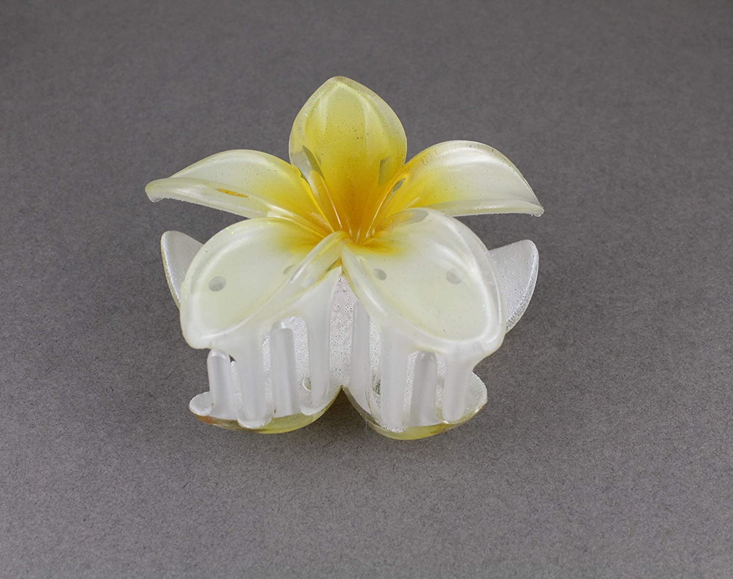 One of a kind resin hair clip with real white and yellow flowers