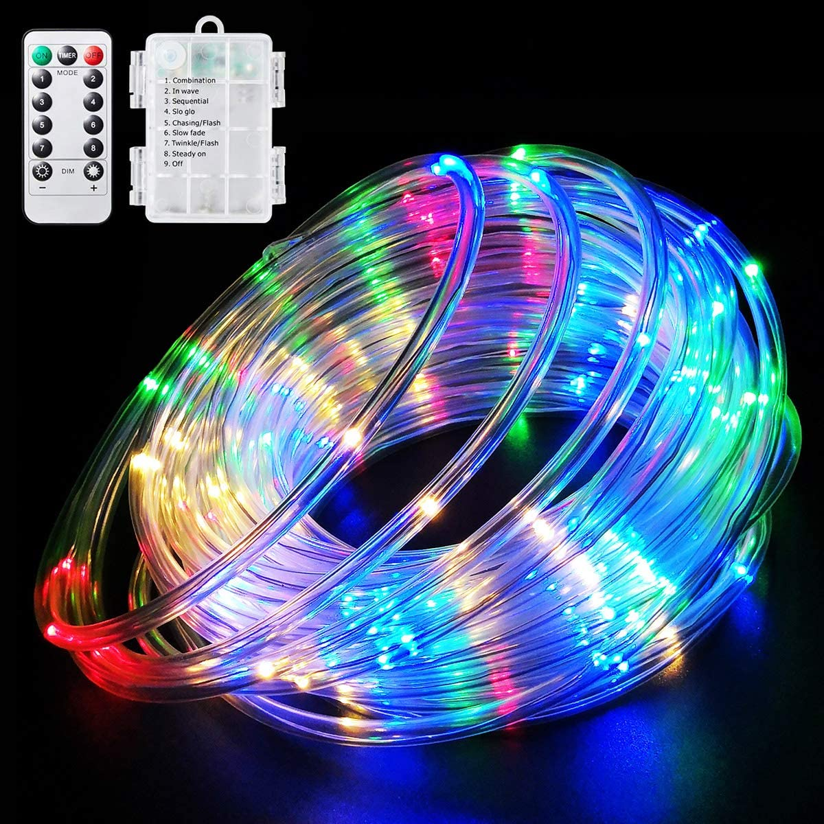 LED Rope Lights Battery Operated String Lights 40Ft 120 LEDs 8 Modes Outdoor Waterproof Fairy Lights Dimmable/Timer with Remote for Camping Party Garden Holiday Decoration Multi-Color
