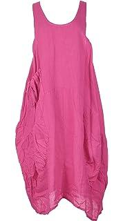 1980f5598b TEXTURE Ladies Women Italian Lagenlook Plain Sleeveless One Pocket Linen  Midi Dress One…