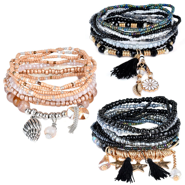RareLove Bohemian Beaded Bracelet Brown Stretch Strand Wrap with Charm Layered Three Tassels (Set 3)