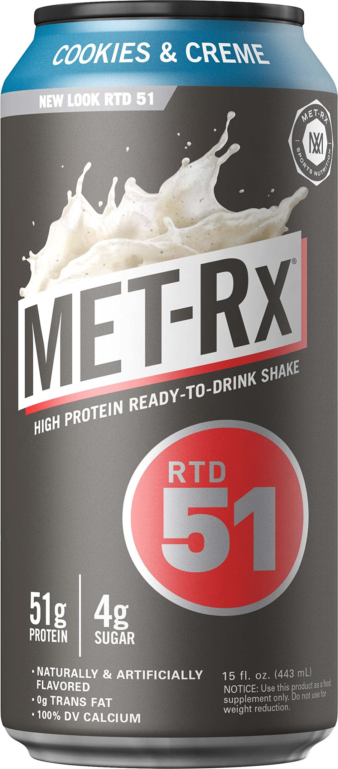 MET-Rx RTD 51 Protein Shake, Ready to Drink and Convenient for Meal Replacement, Low Carb, Cookies and Creme, 15 oz, 12 Count