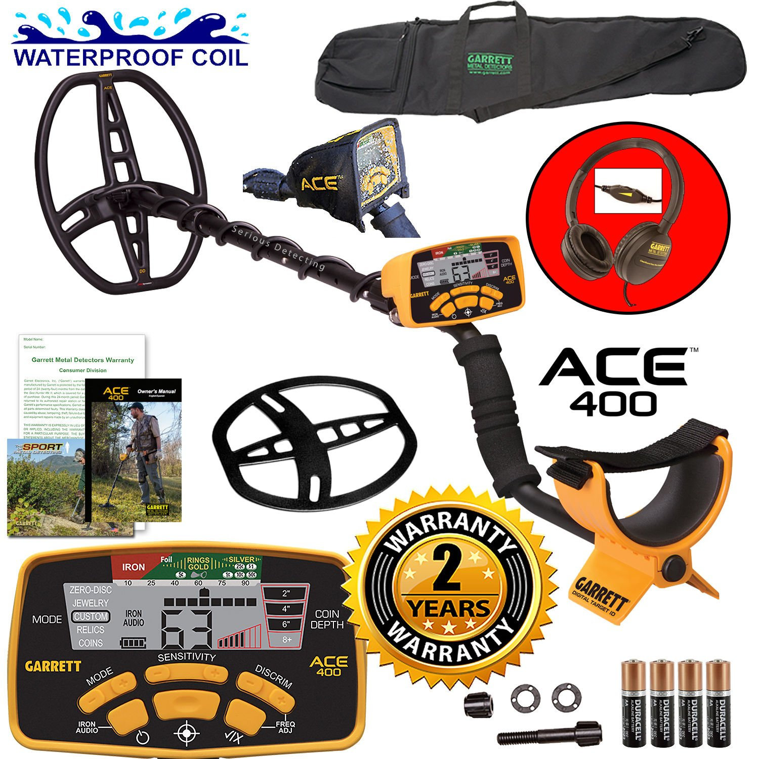 Garrett ACE 400 Metal Detector with DD Waterproof Search Coil and Carry Bag by Garrett Electronics