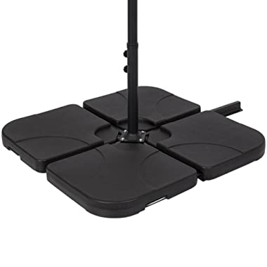 Best Choice Products Patio 4-Piece Cantilever Offset Umbrella Base Stand - Black