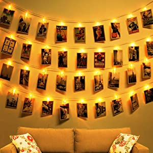 AODINI Fairy Lights, 14.8 ft 30 Photo Clip String Lights Battery Powered, Home Decor LED Lights for Bedroom, Lighting for Wall Pictures Patio Wedding Party - Indoor Outdoor Use