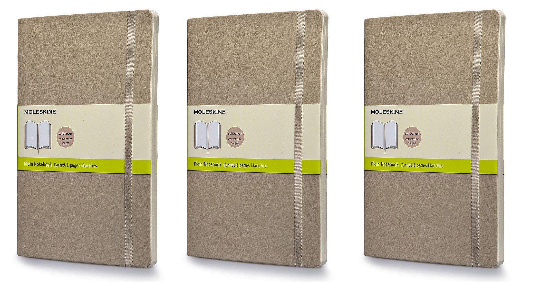 Pack of 3 Moleskine Classic Colored Notebook, Large, Plain, Khaki Beige, Soft Cover (5'' x 8-1/4'')