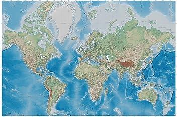 great-art Poster Weltkarte - 140 x 100 cm Fotoposter Wandposter Landkarte im Reliefdesign Wandbild Wanddeko