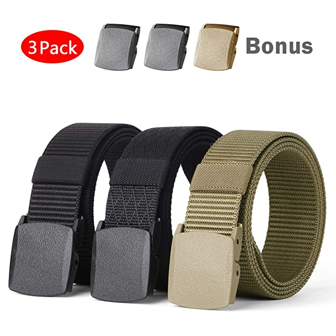 b2876228659 WERFORU Mens Nylon 1.5in Width Adjustable Belt With Military Plastic Buckle  at Amazon Men s Clothing store