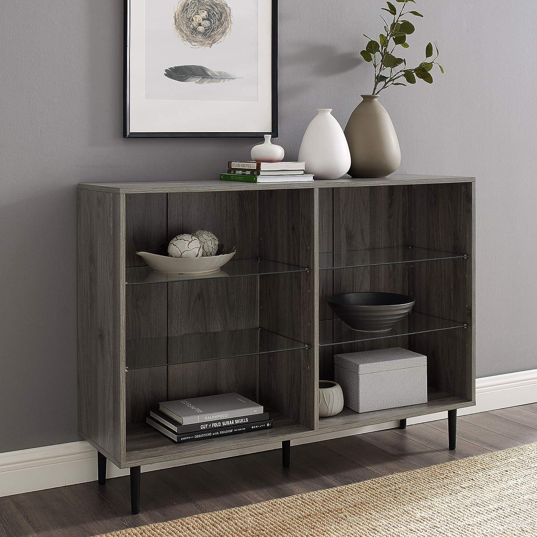 Walker Edison Harvey Mid Century Modern 4 Glass Shelf Bookcase, 48 Inch, Slate Grey