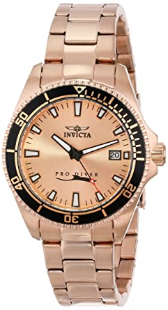 Invicta Womens 15137SYB Pro Diver Rose Gold Dial 18k Ion-Plated Stainless Steel Watch with