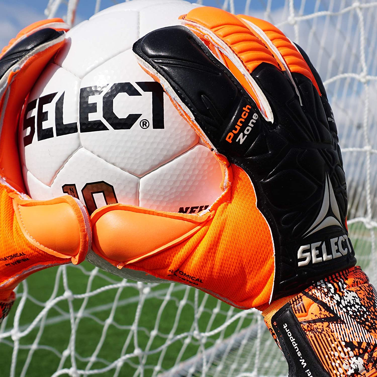 SELECT 33 Protec V20 Goalkeeper Glove With Finger Protection Hard Ground and Soft Ground//Grass Palm