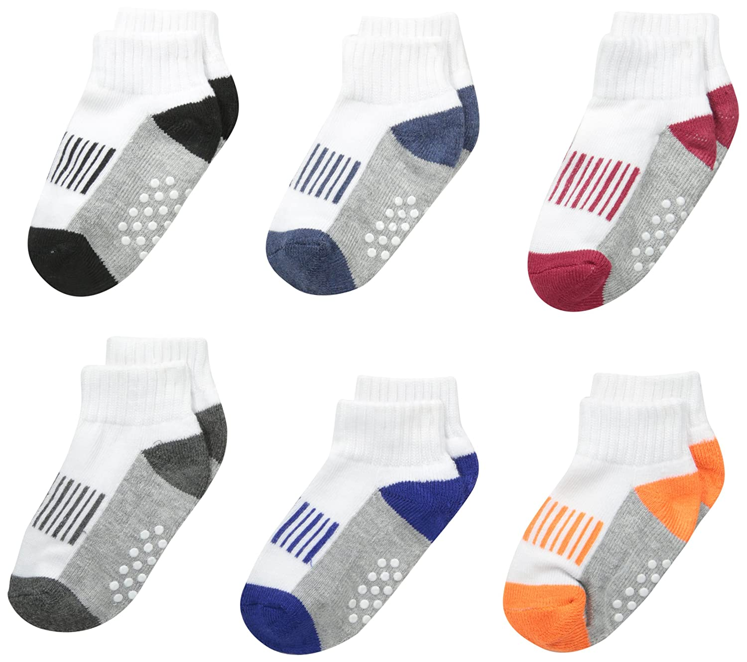 Jefferies Socks Boys' Sporty Half Cushion Quarter Socks 6 Pair Pack 2344