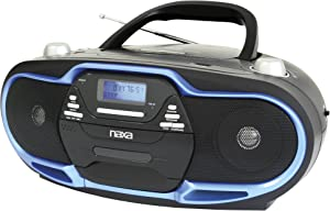 NAXA Electronics NPB-257 Portable MP3/CD Player, AM/FM Stereo Radio and USB Input (Black/Blue)