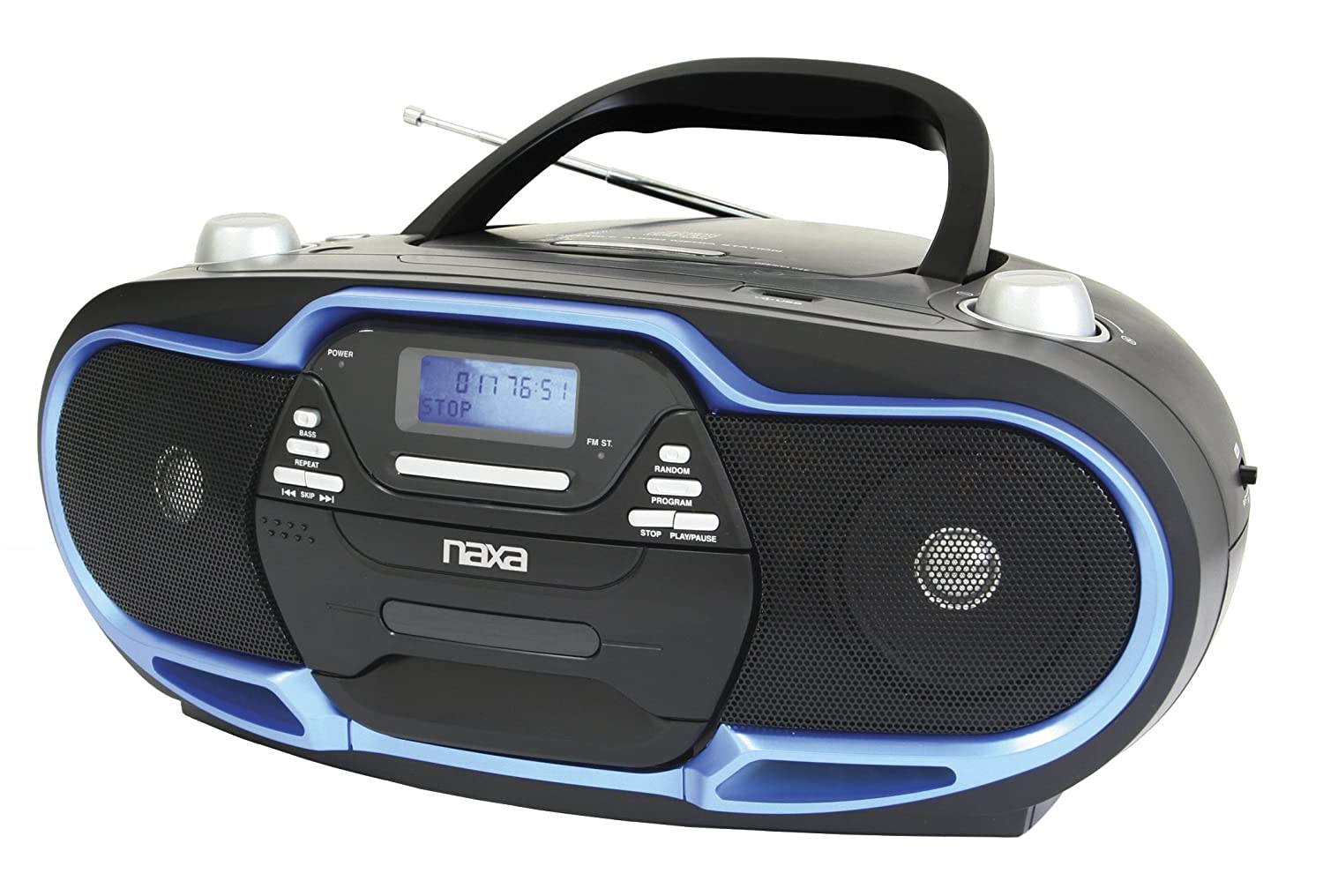 naxa portable mp3 cd player am fm stereo radio usb input black blue 840005004487 ebay. Black Bedroom Furniture Sets. Home Design Ideas