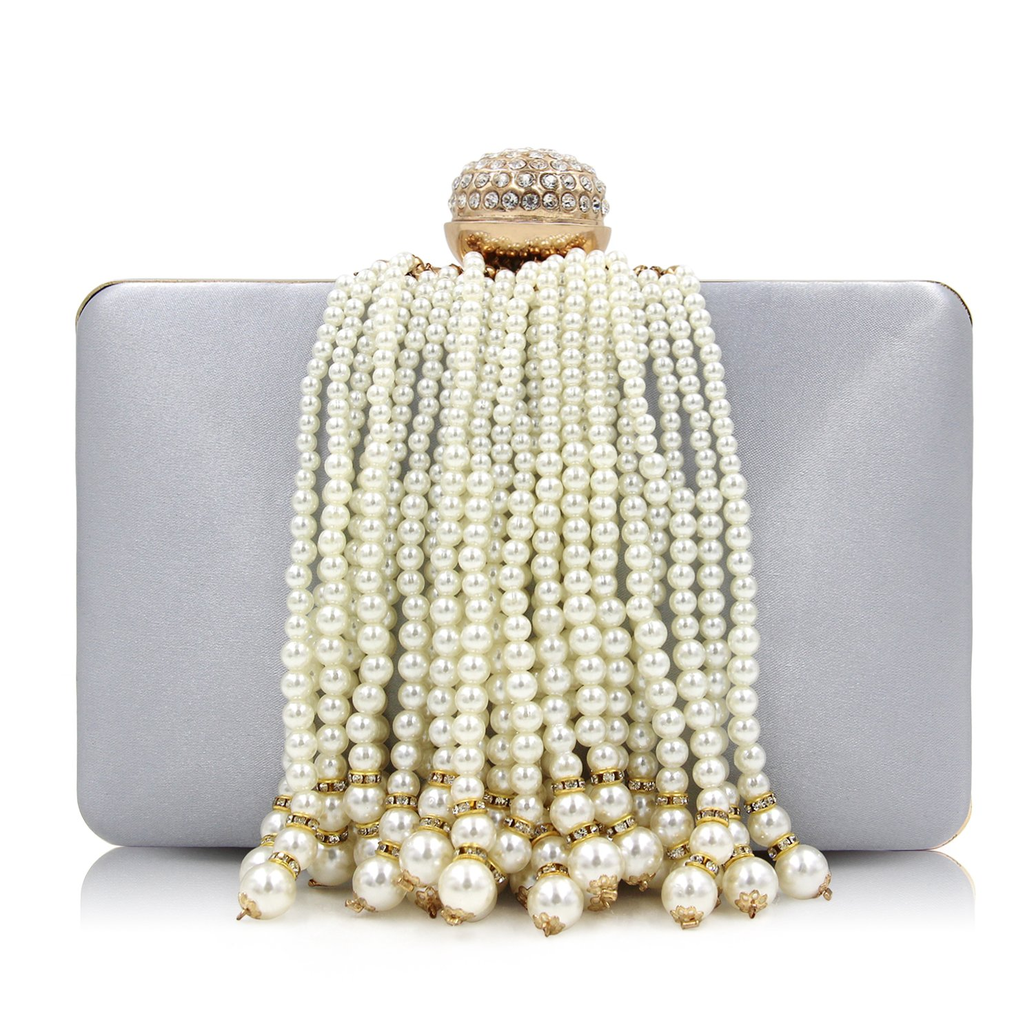 Milisente Women Pearl Clutches Beaded Tassel Evening Bag Satin Clutch Purse (Silver)