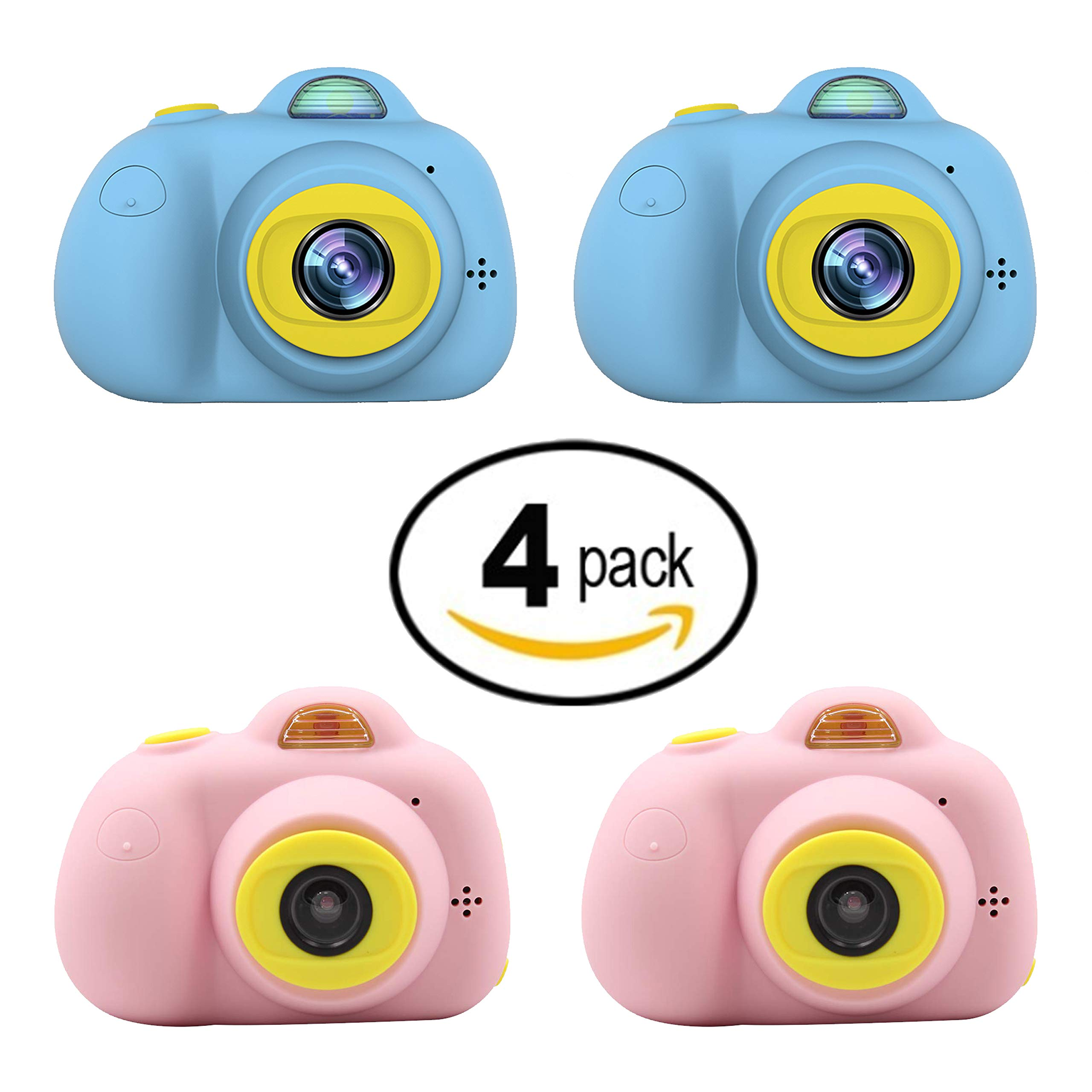 Kids Mini Camera Gifts for Girls and Boys, Rechargeable Shockproof Digital Camcorder Toy for Kids with Soft Silicone Shell - HD Screen Video Lens for Outdoor Play for 3-8 Years Old - 2PINK+2BLUE by Duddy-cam (Image #1)