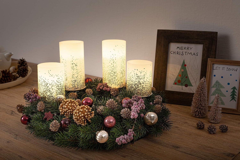Party Hochzeit Pauleen Glowing Glitter Candle Wachskerze 2er Set Echtwachs LED Kerzen mit warmwei/ß flackernder Flamme Wei/ß Silber Wachs f/ür Geburtstage Weihnachten 48008