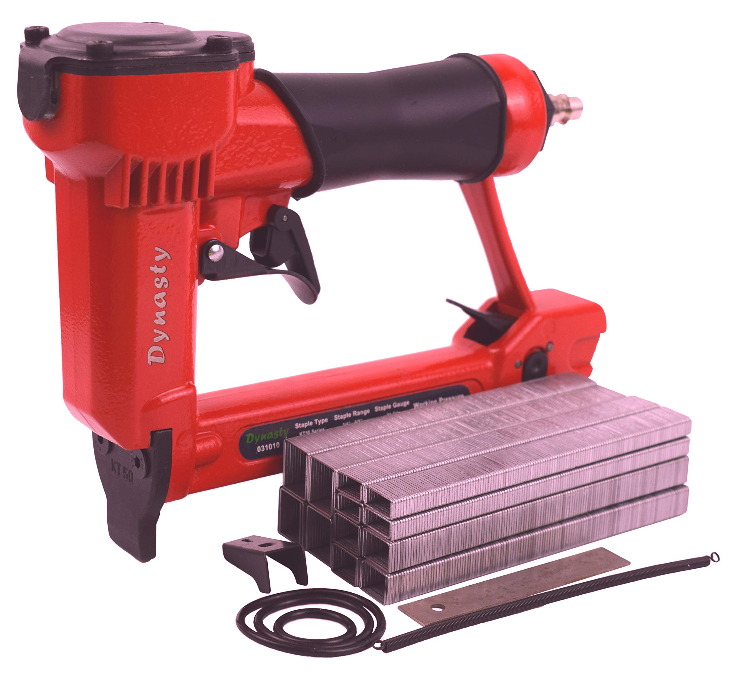 Pneumatic Staple Gun Kit, KT-50 Type 1/2'' Wide Crown Air Stapler, 21 Gauge, 1/4-Inch to 5/8-Inch, with 3000 staples and spare parts
