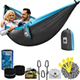 Double Camping Hammock with Tree Straps | 4 in 1 Parachute Hanging Portable for Outdoor Backpacking