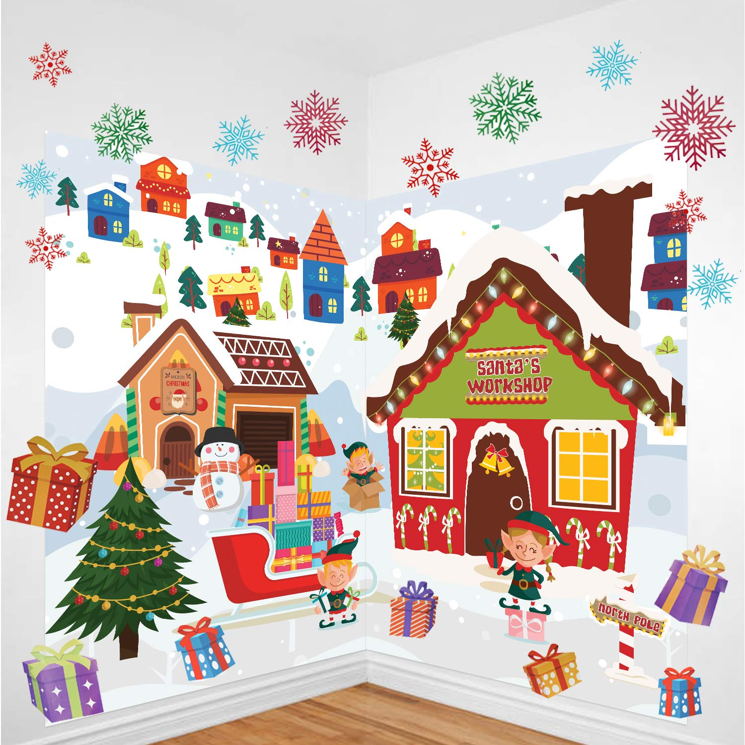 Massive Christmas Wall Decoration Set Including Two 60 x 90CM Pieces, Plus 30 Large Snowflake Decals and More, For Home and Office - Amazing Xmas Photo Backdrop Kompanion