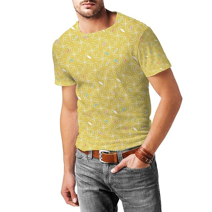 1960s Style Men's Clothing Retro Yellow Swirls 60s Mens Cotton Blend T-Shirt $37.99 AT vintagedancer.com