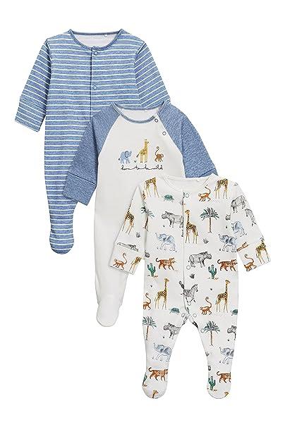next Bebé-Niños Pack De Tres Pijamas Tipo Pelele con Estampado De Animal (0 Meses - 2 Años) Blanco/Azul 12-18 Meses: Amazon.es: Ropa y accesorios
