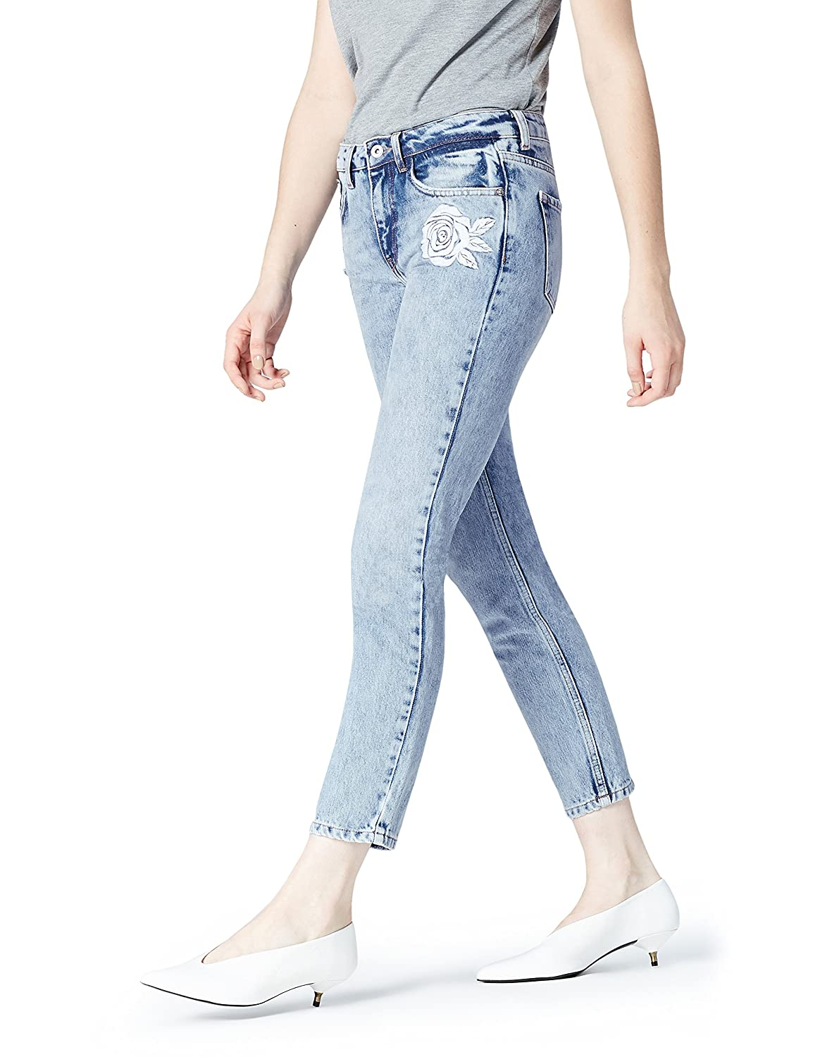 TALLA S. Marca Amazon - find. Vaqueros Rectos con Bordados Mujer