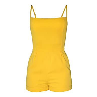 e389750ecfb Amazon.com  Short Yellow Jumpsuit with Fitted top