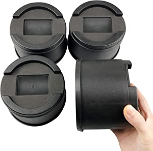 FONDDI Bed Risers 3.5 Inch Stackable Round Furniture Risers 3 Inch Lift Height Heavy Duty for Castor Wheels Table Sofa Chair Risers Great Under Bed Storage Anti Slip 4 Pack Black