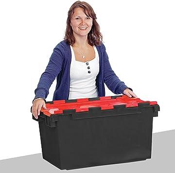Cajas de plástico de alta resistencia de 80 litros (71 x 46 x 36,8 cm), color negro y rojo LC3 con tapa con bisagras, negro: Amazon.es: Bricolaje y herramientas