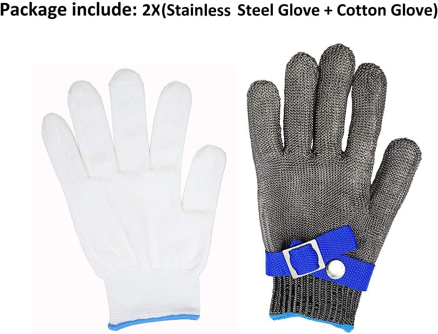 1 316L Stainless Steel Mesh Cut Resistant Gloves Kitchen Butcher Safety Working Glove Level 5 Protection Size L